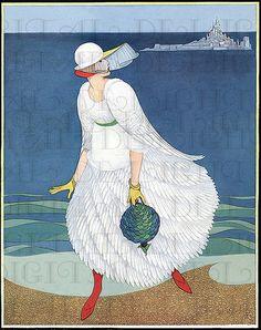 Too Too StUNNING. Art Deco Extravaganza Flapper. VINTAGE ILLUSTRATION. Deco Digital Download. Vogue Art Deco Print