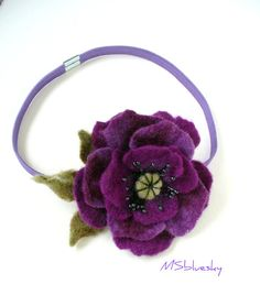 Purple flower hand felted Elastic Headband Ready to by MSbluesky, $21.00
