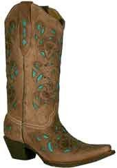 Brown and Turquoise Laser Cut Boots