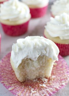 Almond Cupcakes with Whipped Almond Buttercream Frosting | stuckonsweet.com