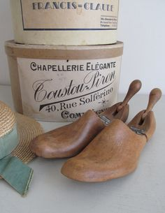 Lovely pair of vintage folding hardwood shoe by AbsolutelyEnglish