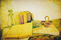Old Desk and Books (