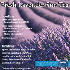 The sun grew your lavender, now let it brew your tea!