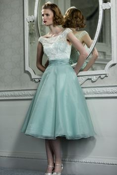 Off the Shoulder Lace Pattern Top A-line Teal Green Tea Length Organza Bridesmaid Dress