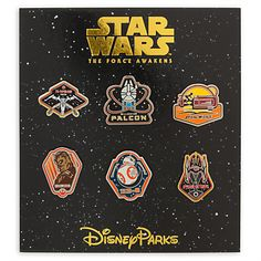 The Millenium Falcon Pin (top middle) Star Wars: The Force Awakens Pin Trading Booster Set - Disney Parks 2016