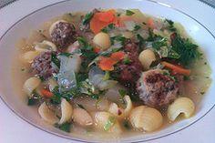 Italian wedding soup with gluten-free pasta.