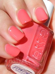 Essie- Cute as a Button. The perfect peachy pink for summer or spring. Very flattering on light skin tones.
