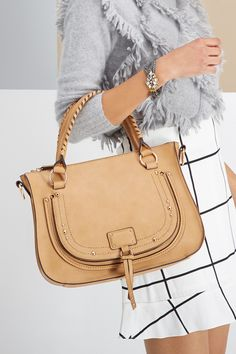 Beautiful satchel with whip-stitched top handles and polished studs | Sole Society Datyon