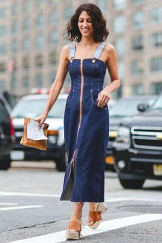 The chicest overall dress you've ever seen. #refinery29 http://www.refinery29.com/2015/09/93788/ny-fashion-week-spring-2016-street-style-pictures#slide-24