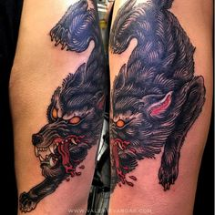 A fearsome traditional wolf tattoo by Valerie Vargas (IG— valeriemodernclassic). #color #tradition #ValerieVargas #wolf
