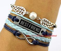 Pearl, golden snitch bracelet, best friend bracelet, infinity bracelet, ancient silver charm, dark blue leather, charm bracelet