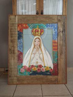 Painel Nossa Senhora pintado a mão Holy Mary, Blessed Virgin Mary, Posca, Blessed Mother, Art Classroom, Christian Art, Religious Art, Ikon, Painting On Wood
