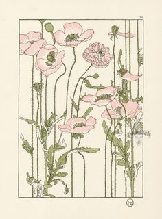 """Love the shades of pink and green here. I also like the very thin brown outlines (though I prefer something more """"wispy"""" like the cherry blossom wrist tattoo). My favorite things here are the white insides on the flowers, and the """"children's book illustration"""" aesthetic. // Foord Pochoir Flower Studies 1901"""