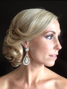 Hair by Christine Pay;Glamour; classic elegance; red carpet look; chignon; swept bangs; timeless bridal look; Patti Simmons mua; #christinepayhairstylist; #brushworx
