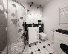 simply about home: Heksagony i klimat B&W w małej łazience. Interior Design Projects, Interior, Home, Alcove Bathtub, Simply Home, Bathroom, Bathtub