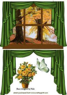 AUTUMN WINDOW SCENE WITH GREEN DRAPES