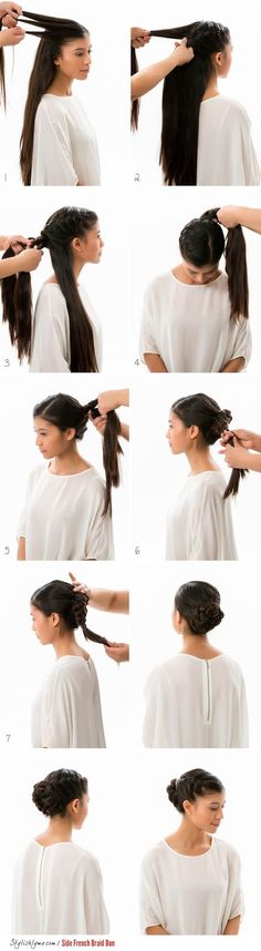 Best Hairstyles for Brides - Side French Braid Bun - Amazing Hair Styles and Looks for Half Up Medium Styles, Updo With Long Hair, Short Curls, Vintage Looks with Veil, Headpieces, or With Tiara - Wedding Looks for Girls With Round Faces - Awesome Simple Bridal Style With Headband or Elegant Braided Up Dos - thegoddess.com/hairstyles-for-brides