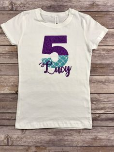 Mermaid Shirt Glitter Scales Personalized Custom by GingerMooseCrafts on Etsy