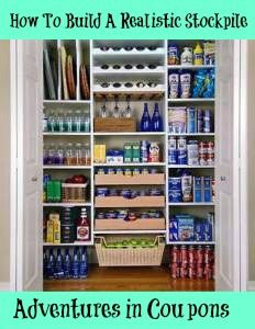 How To Build A Realistic Stockpile of food and cleaning and personal products!! This stockpile will save you tons of money by not having to visit stores frequently... By buying in bulk when prices are low.. U will save, save, SAVE!! #frugal #stockpile #emergencyprep