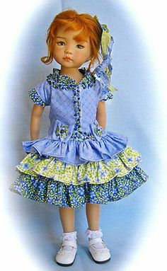 """Periwinkle Lime Outfit for Effner 13"""" Little Darling by SIS from MHD Pattern 