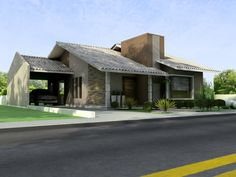 Ideas house plans modern rustic garage for 2019 Pool House Designs, Bungalow House Design, Stone Exterior Houses, Building Exterior, Country House Plans, Modern House Plans, House Construction Plan, 2 Storey House, Basement House Plans