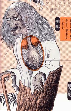 "Yanagi-baba (""willow witch"") is the spirit of 1,000-year-old willow tree. From Shigeru Mizuki's ""Yōkai Daizukai"", 2004"
