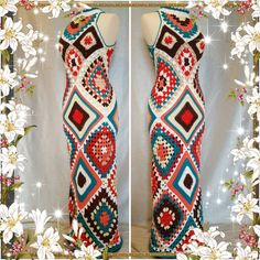 Womens Crochet Granny Square Maxi Hippie Vintage by OrawanCrochet