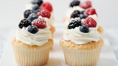 Make angel food cake in cupcake form and top with fresh berries and vanilla-bean whipped cream and you will have a heavenly little dessert.