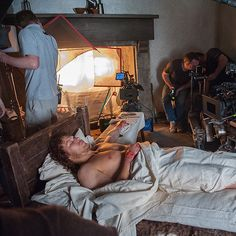 Can a lad get some sleep around here? #Outlander #BehindTheScenes
