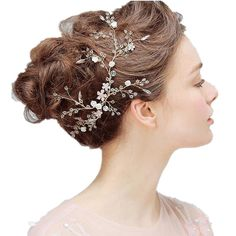 Women Wedding Bridal Hair Accessories,Handmade Crystal Pearl Flower Beaded Loop Headpieces -- Read more info by clicking the link on the image. #hairhack