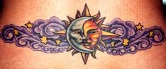 Lower Back Star Tattoo Designs | celestial theme to this great one with swirling clouds dispersed ...
