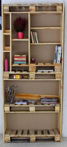A lil' obsessed with this built-up organizer/shelving  DIY pallet unit ~ Saves Space + Satisifies multiple uses & has a decorative feel to it --> Worth attempting for new apt.