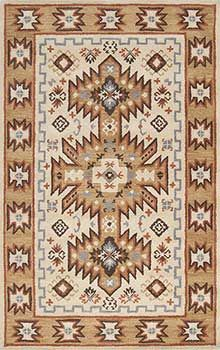 Chandler-1002 -- Southwest style rug inspired by Native American design. Beautiful in Western style or Santa Fe style settings. Hand tufted in wool, sizes up to 8' x 11'.