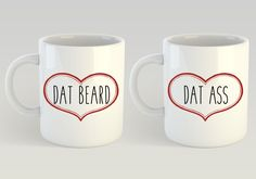 Gifts for Boyfriend, I Like His Beard, I Like Her Butt, Funny Coffee Mugs, Dat Ass, Dat Beard, Gifts for the Couple, Valentines Day Gift by HandmadeHarrisburg on Etsy