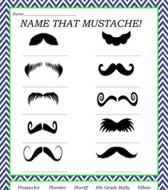 Name That Mustache Game/ Mustache Baby Shower/ Stache Game/ Little Man Baby Shower/ Kids Party/ Choose your own color scheme on Etsy, $4.37 CAD