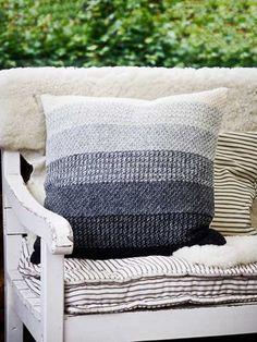 Striped Cushion in tunisian crochet moss stitch. Design by Pernille Cordes