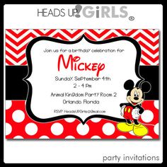 Twin mickey minnie mouse birthday party by scallopedacorn on etsy personalized minnie and or mickey mouse birthday party invitations in red black and yellow by headsupgirls filmwisefo Gallery