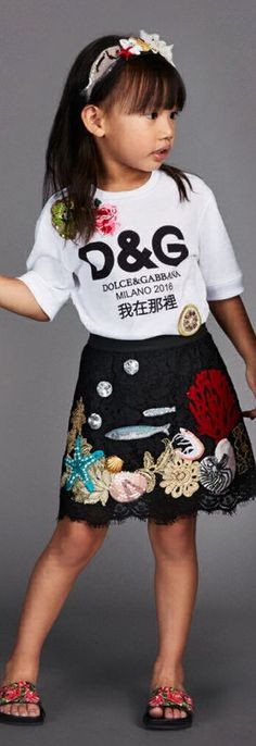 ON SALE !!! Love this DOLCE & GABBANA Girls White 'io C'ero' in Chinese T-Shirt. Looks Cue wth this D&G Black Ocean Embellished Skirt. Fashionable Mini Me Look Inspired by D&G Women's Collection. #kidsfashion #dg #dolcegabbana #sale #fashion #minime