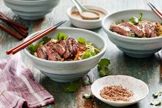 For an Asian-inspired barbecue try Curtis Stone's barbecued ginger beef and noodle salad.