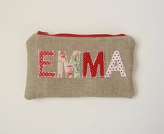 Valentine's Burlap Personalized Clutch by JuneberryStitches.
