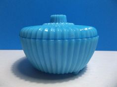 "Vintage BLUE Milk Glass Powder Jar TRINKET Box 3.75"" #unknown"