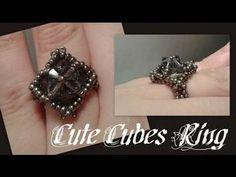 Cute Cubes Ring Beading Tutorial by Beading Tutorials, Cube, Diamond Earrings, Swarovski, Handmade Jewelry, Etsy Shop, Beads, Youtube, How To Make