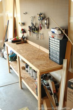 Very inexpensive garage shelving and peg board idea for better garage organziation