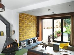 Swinging London | Living Room | Fireplace | #Retro Interior #Design