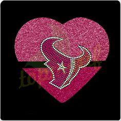 Huston texans rhinestone transfer Pink heart