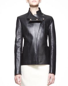 B2CQZ THE ROW Golden-Trim Leather Jacket