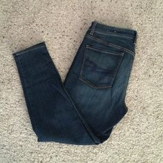 AE Hi-Rise jegging Dark was AE hi-rise jegging. Super super stretch. Worn once. Size 12 short American Eagle Outfitters Jeans