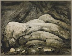 John Piper (1903‑1992) Title Glaciated Rocks, Nant Ffrancon Date 1944 Medium Ink and watercolour on pape