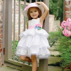 Mud Pie Easter Ivory Silk Multi Flower Girl Dress Size 3M to 5T NWT in Dresses   eBay