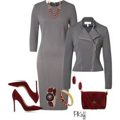Maroon & Grey by pkoff on Polyvore featuring moda, ESCADA, Gianvito Rossi, Chanel, Just Cavalli, Lucky Brand and Kendra Scott